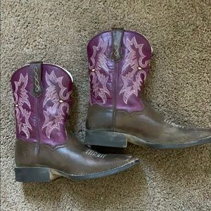 Brown and purple Ariat boots✨